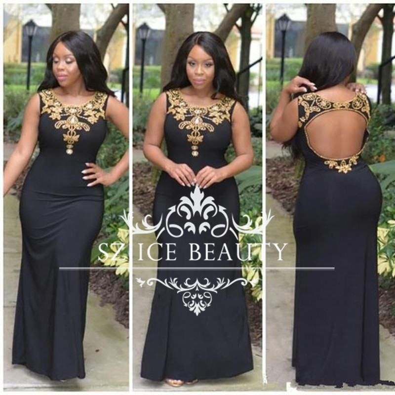 Custom Fit African Mermaid Prom Dresses Long Gold Sequins Beaded Black Spandex Open Back 2016 Sexy Dress Evening Gown  -  Sz Ice Beauty store