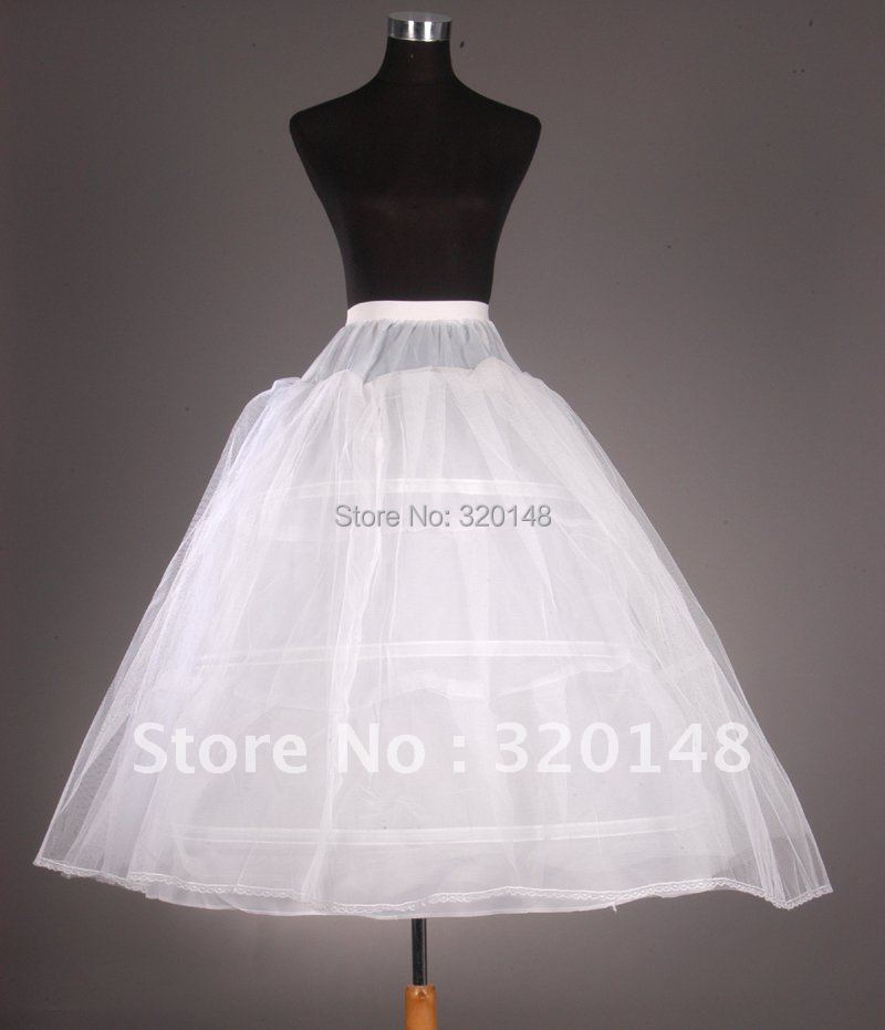 Free shipping tulle ball gown 3 tier floor length slip for Tulle petticoat for wedding dress
