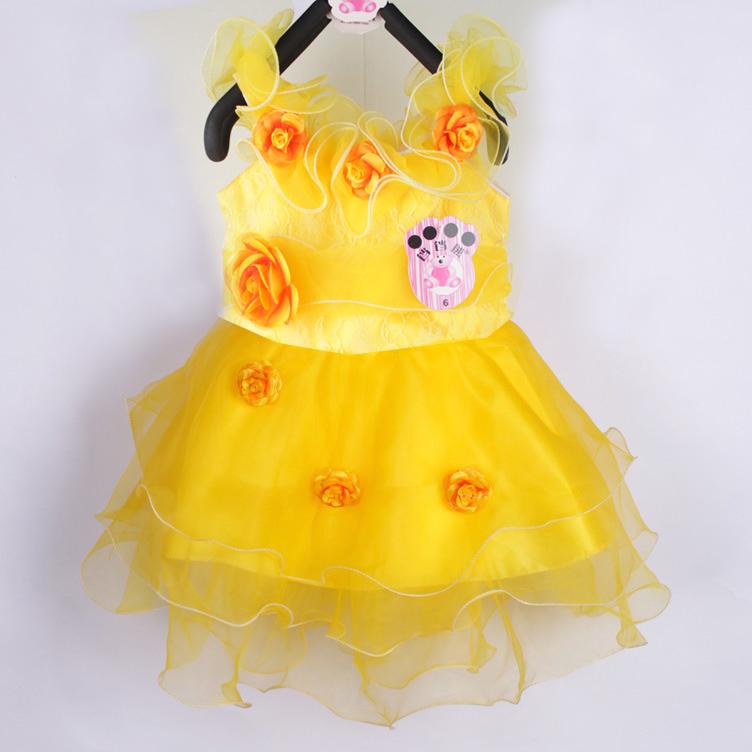 Small female child dance dress beautiful costume summer tulle dress princess dress one-piece dress(China (Mainland))