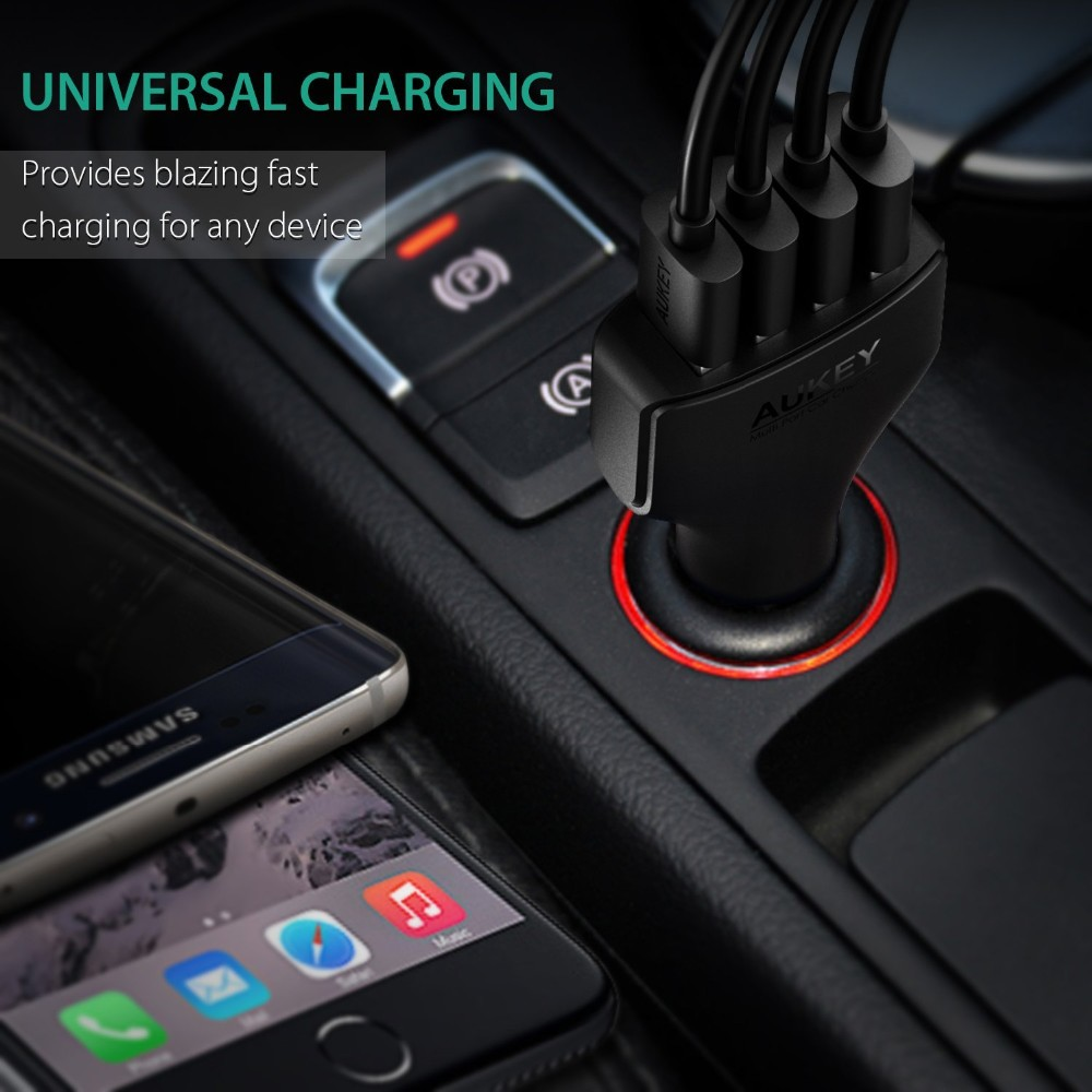 AUKEY QC3.0 4 Ports Car Charger Adapter Quick Charger Car-Charger for HTC One M9 Sony Xperia Z3 Motorola LG G4, and more Phones