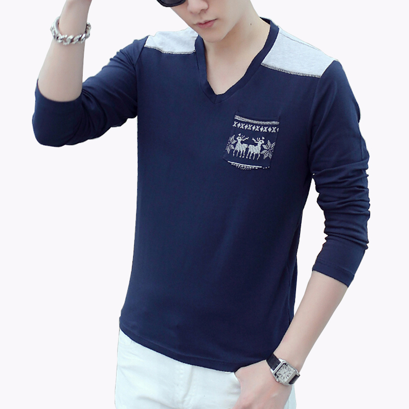 Autumn new fashion men 39 s long sleeve t shirt 2016 v neck for Best mens dress shirts 2016