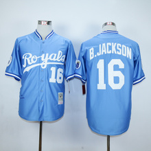 #16 Bo Jackson Royals Jersey White Home Blue Alternate Cream Stitched B.Jackson KC Kansas City Royals Throwback Baseball Jerseys(China (Mainland))