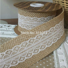 Christmas Deco 10M Natural Jute Burlap Hessian Ribbon with Lace Trims Tape Rustic Party Decor wedding cake topper(China (Mainland))