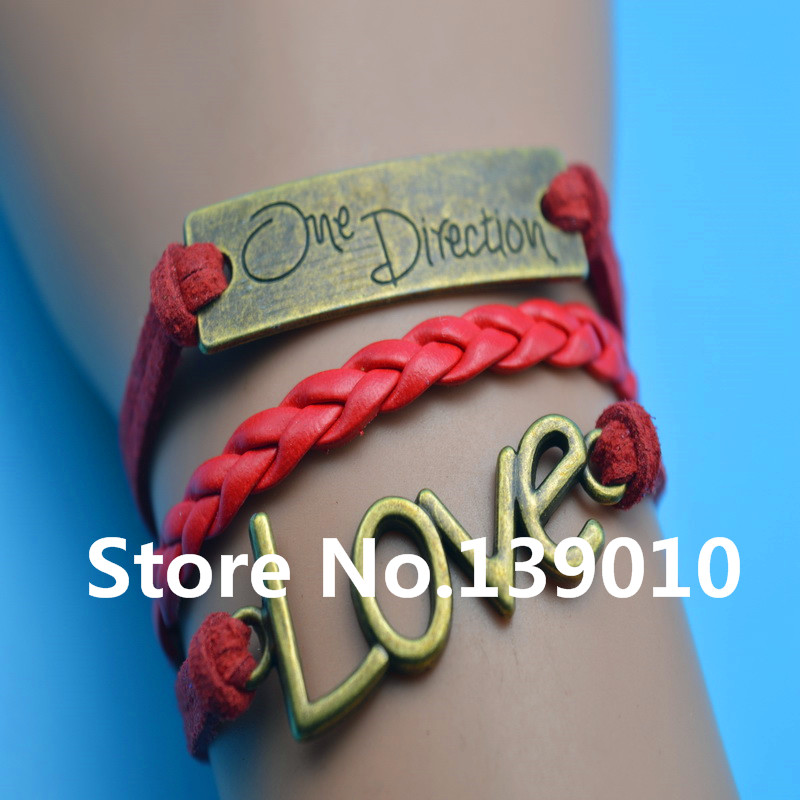 Beautiful Design Handwork Red Colors Leather Suede Cord One Direction LOVE Bracelet Bangle Trendy Women Men Girl Costume Jewelry(China (Mainland))