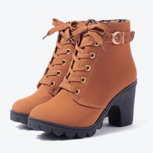 MCCKLE Plus Size Enkellaars Vrouwen Platform Hoge Hakken Gesp Schoenen Dikke Hak Korte Laars Dames Casual Schoenen Drop Shipping(China)