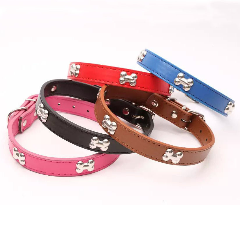 Black/Red/Blue/Pink New Designer Pu Leather Dog Collar For Small Dogs Pet With Bone Studded Necklace Pendant S M L Free Shipping(China (Mainland))