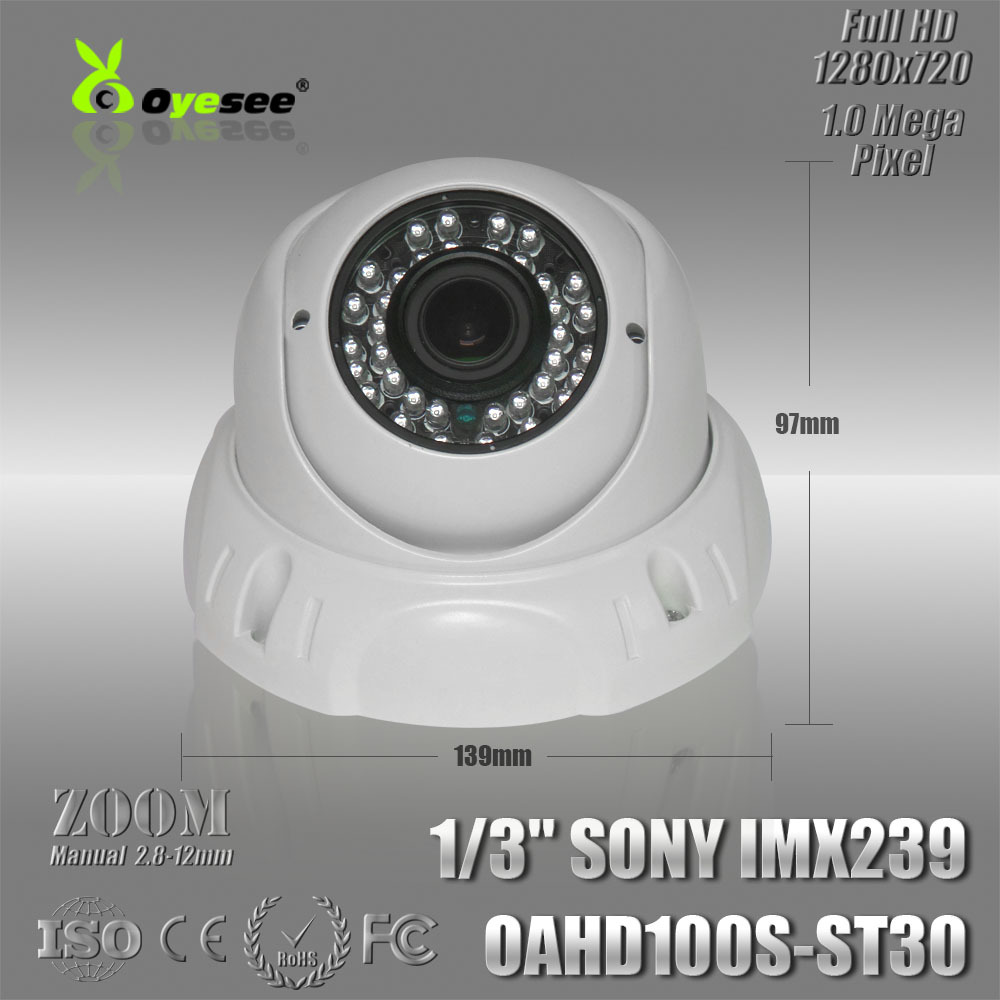 AHD 1.0 Megapixel security camera HD Vandalproof dome housing 2.8-12 mm Manual Zoom Lens(China (Mainland))