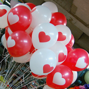 50pcs/lot Latex 12inch Helium Ball White&Red Heart Latex Balloon Wedding Party Birthday Heart Pattern Mixed Color Balloon(China (Mainland))