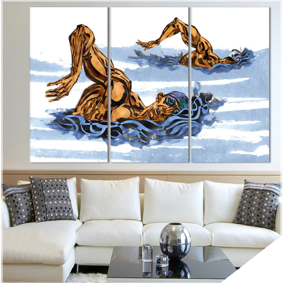 Modern Abstract Art Deco hand painted picture Painting Swimming Race On Canvas Sport Painting Unique Wall Art(China (Mainland))