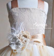 Vestidos de boda – Princesa de color champán elegante con flores de tul