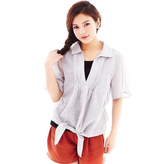 VANCL Women Shirt with Tanktop Elegant Plated 100% Polyester Two-Pieces Set Tank-Top outside Blouse Multicolor FREE SHIPPING
