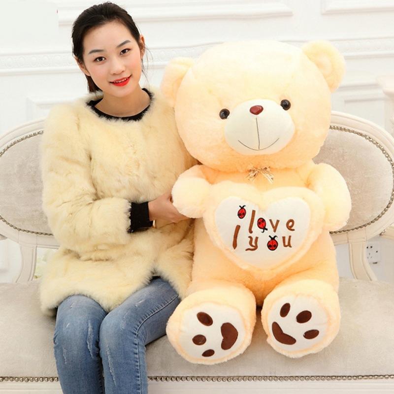1pcs big size 70cm Stuffed Plush Toys Holding I Love You Heart Big Plush Teddy Bear Soft Gift for Valentine Day Birthday Girls(China (Mainland))