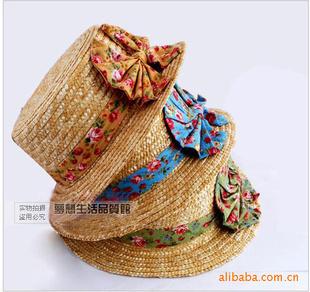 Straw hat wholesale ,girl's homburg for sale ,Flat straw hat(China (Mainland))