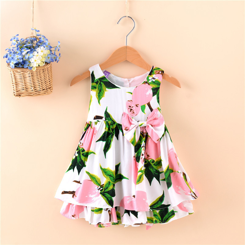 2017 Hot Sale Free Shipping Girl Dresses Sleeveless Print Yellow Lemon Red Heart robe bebe Baby Dress Summer Baby Birthday Dress(China (Mainland))