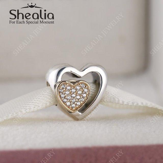 925 серебро и 14 К чистого золота проложить CZ трехместный в форме сердца шарм бусины для женщин браслет DIY 2016 день святого валентина лучшие подарки