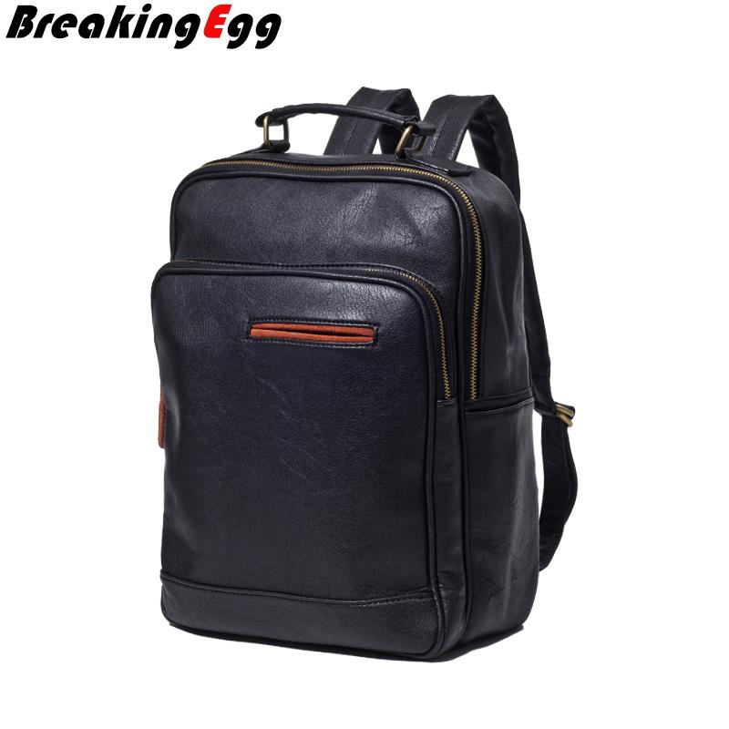 PU leather backpack men preppy mochila women travel backpacks outdoor casual school bags girls laptop - BreakingEgg Fashion Store store