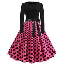 חורף חג מולד שמלות נשים 50S 60S Vintage Robe Swing Pinup אלגנטי המפלגה שמלה ארוך שרוול מזדמן בתוספת גודל הדפסת שחור(China)
