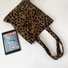 Сумка с леопардовым принтом Вельветовая Наплечная женская сумка большая хозяйственная сумка женские сумки Повседневная тканевая пляжная ...(China)