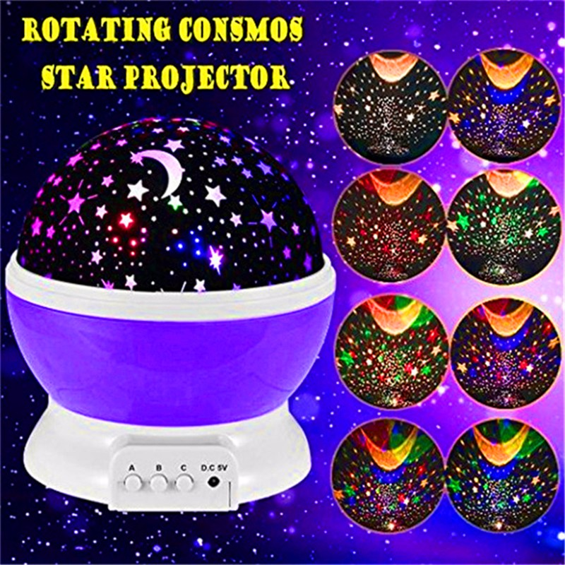 2017 Hot sell Romantic New Rotating Star Moon Sky Rotation Night Projector Light Lamp Projection with high quality Kids Bed Lamp(China (Mainland))