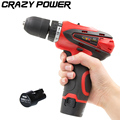 CRAZY POWER 12V Electric Drill 2 Batteries 2 Speed Cordless Screwdriver Electric Screwdriver Parafusadeira Furadeira Tool