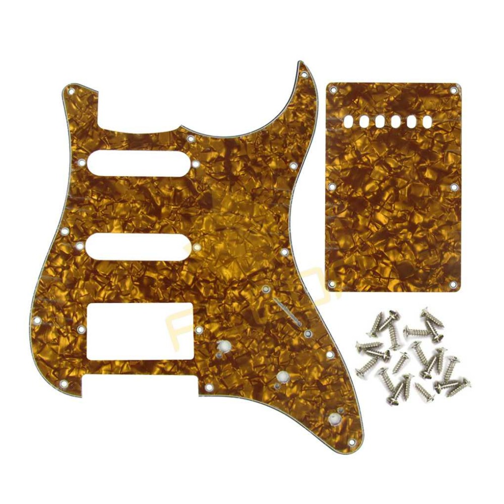 NEW Golden Pearl 3Ply HSS Strat Guitar Pickguard Scratch Plate Back Plate w/Screw for ST/SQ Style Guitar(China (Mainland))