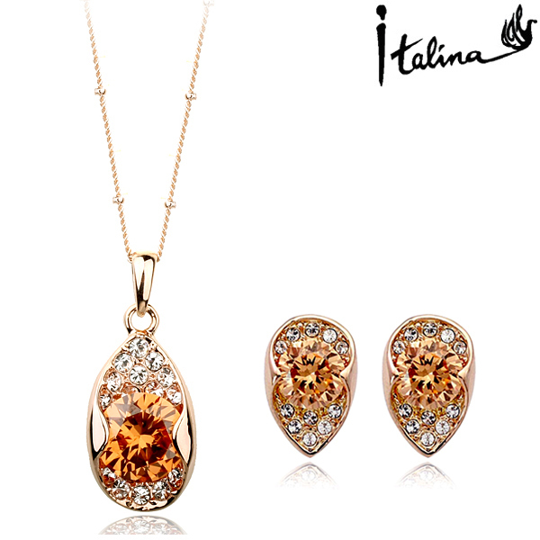 2016 New Sale Real Brand Jewelry sets for women Genuine Austrian Crystal  18K Gold plated Fashion Jewelry Set #RG12481+RG13408