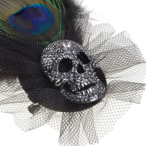 Wholesale 5PCs/Lot Peacock Feather Rhinestone Skull Brooch w/ Pin And Alligator Clip Black(China (Mainland))