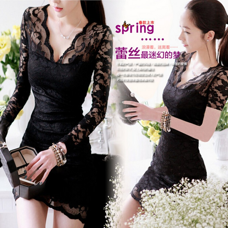 Expose chest Lace Floral designs Dresses New fashion bandage dress black Multi color bodycon dress sexy women dresses(China (Mainland))