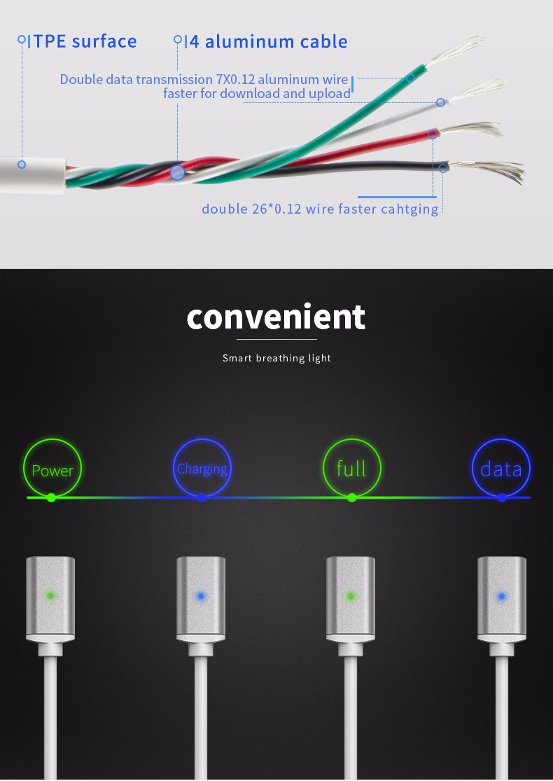 TPE magnetic fast charging wire micro USB data sync cable multi-color soft 1 meter mobile phone cables magnet cord