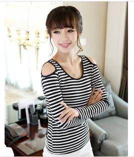2013 NEW Fashion Women Shoulder Long Sleeve T shirt White Black Strip t - YIWU Googol No. 2 Store store