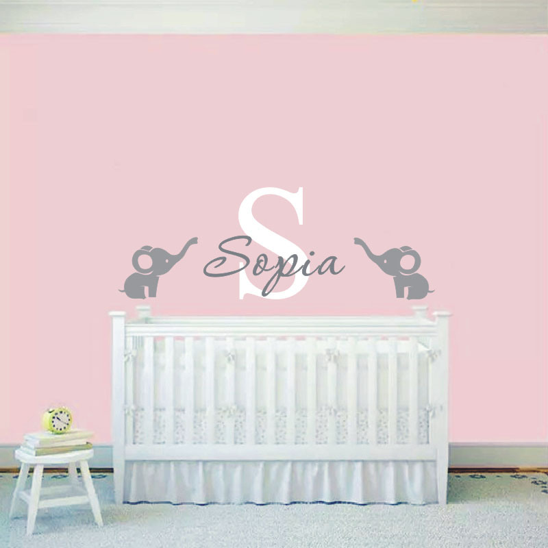 2016 custom baby name wall sticker cute elephants wall for Baby girl nursery mural