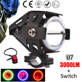 1 pcs 125W Motorcycle Headlight Motorbike spotlight 3000LM Motos U5 U7 LED Driving car Fog Spot