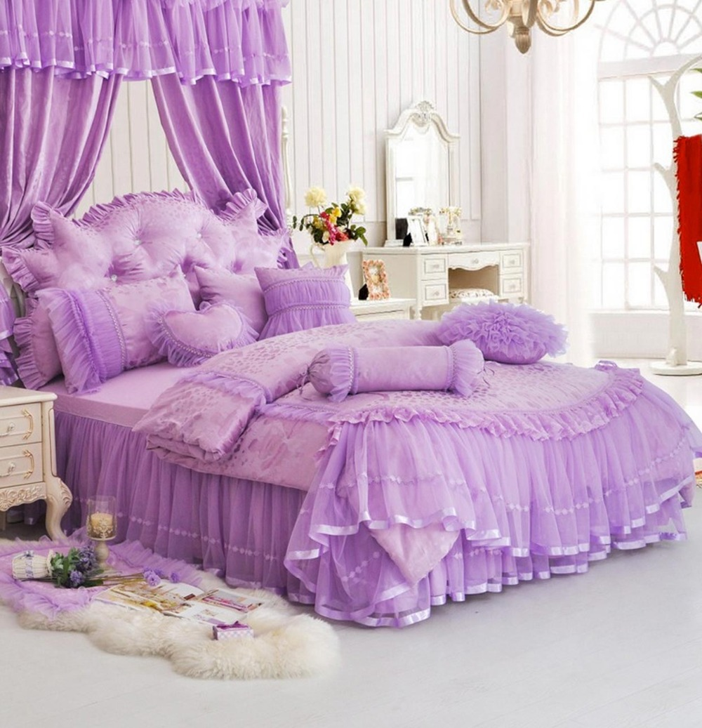 princess purple pink red single double bed set twin full queen king