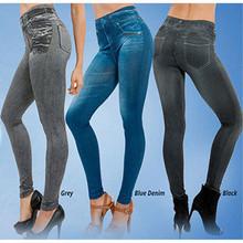 skinny pants women's winter spring legging blue black grey imitation jean female warm jeggings with 2 real pockets Pencil pants(China (Mainland))