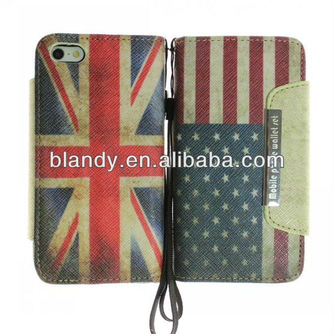 10pcs/lot&Free shipping Wholesale flip retro UK and USA flag leather standing case for iphone 5 5g(China (Mainland))