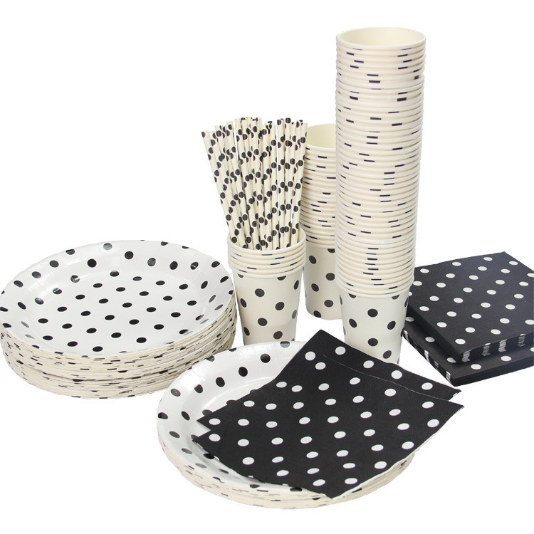 Promotion White & Black Polka Dots Tableware Party paper plate cups napkins paper straw Cutlery Set Knives Forks Spoons(China (Mainland))