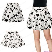 New White Women Skirt Black Big Eyes Print Pettiskirt Flared Pleated Miniskirt Sport Tennis Short Skirts A-line High Waist
