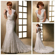 Not far from the country Free ShippingIvory Lace Backless Cap Sleeve Bridal Gowns Stunning 2016 Low Back Mermaid Wedding Dress(China (Mainland))