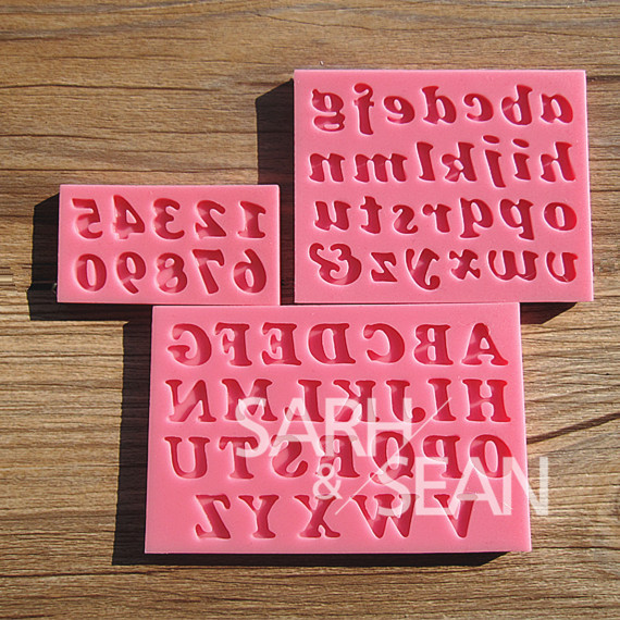 M0209 English letters & numbers fondant cake molds soap chocolate mould kitchen baking 3pc/set(China (Mainland))
