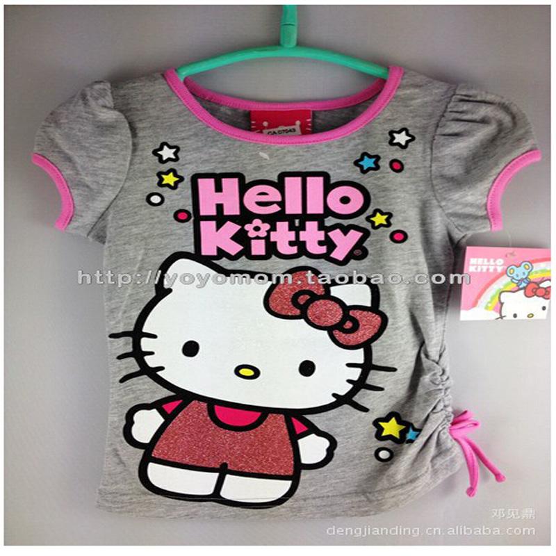 On sale !!! Free Shipping Baby Girls Hello Kitty T shirt Children Short Sleeve T-shirt Kids Summer Clothes(China (Mainland))