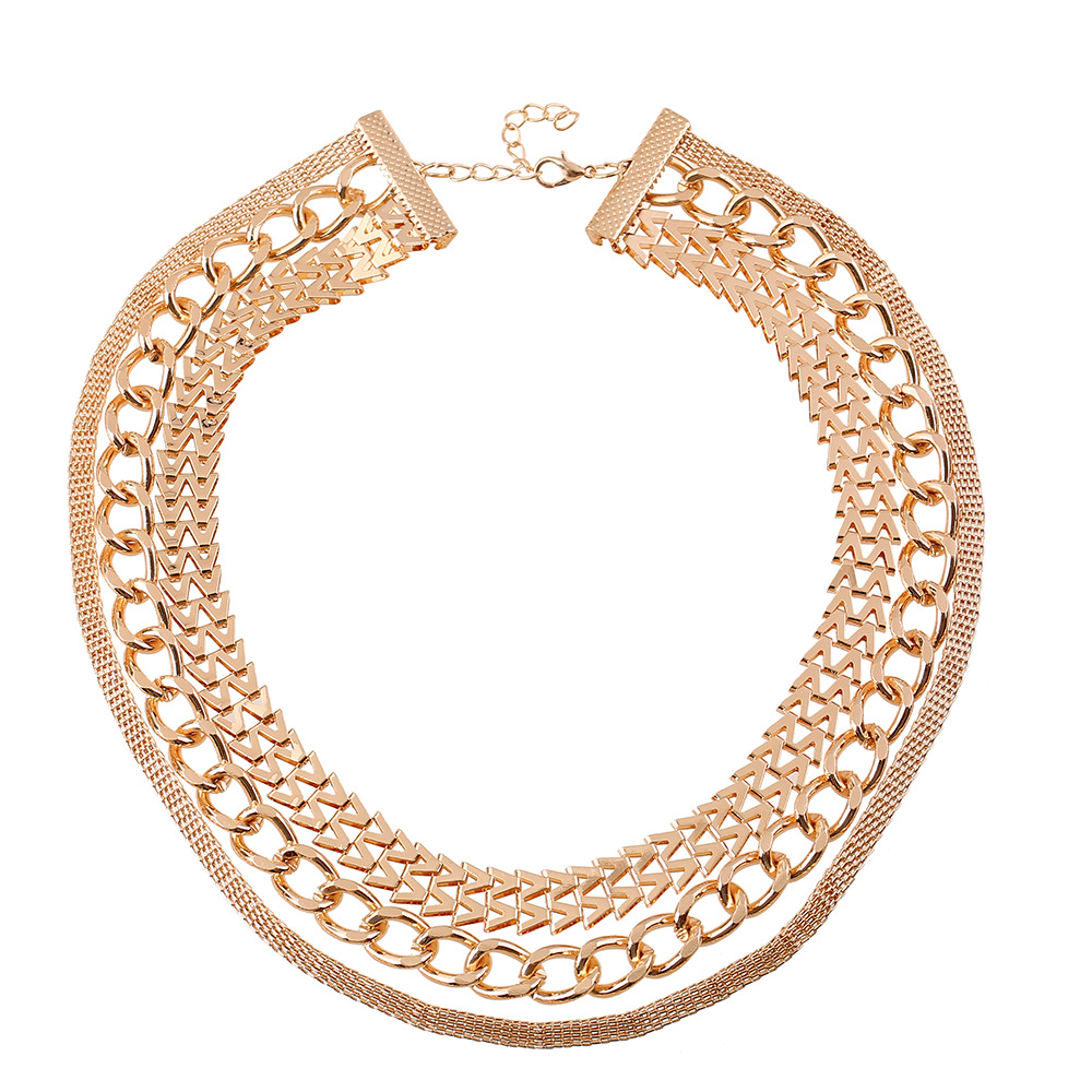 sales to Europe and the United States punk locomotive shining golden 3 layer multilayer metal chain mix short necklace(China (Mainland))