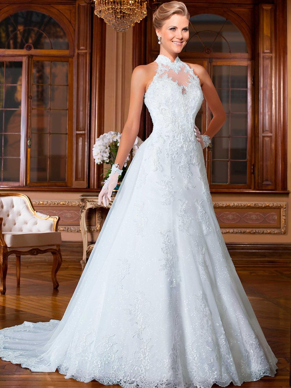 White wedding dress a line : Vestido de renda branco vestidos noivas princess halter
