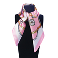 60cm 60cm Women 2016 New Fashion Imitated Silk Chain and Brand Carriage Printed Small Square Scarf