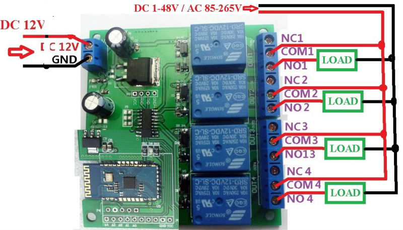[SCHEMATICS_4FR]  12V 4Ch Bluetooth Relay Android Mobile Remote control Switch for Motor LED  Light [CE028] - USD $17.99 : canton-electronics.com | Remote Control 12v Dc Switch Wiring Diagram |  | Canton Hobby Electronics Kits