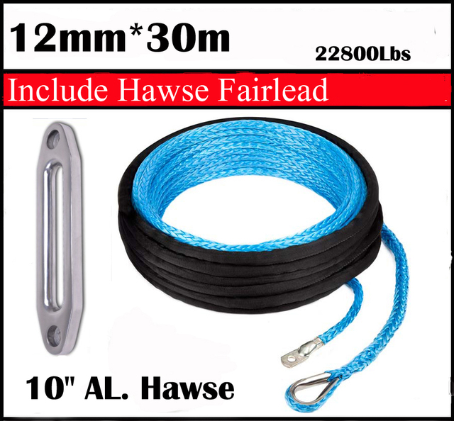 "New Strong 100% UHMWPE Synthetic Winch Cable/Rope 12MM*30Meter W/T+10"" Al. Hawse  for 4WD/ATV/UTV/SUV Winch Use////free shipping"