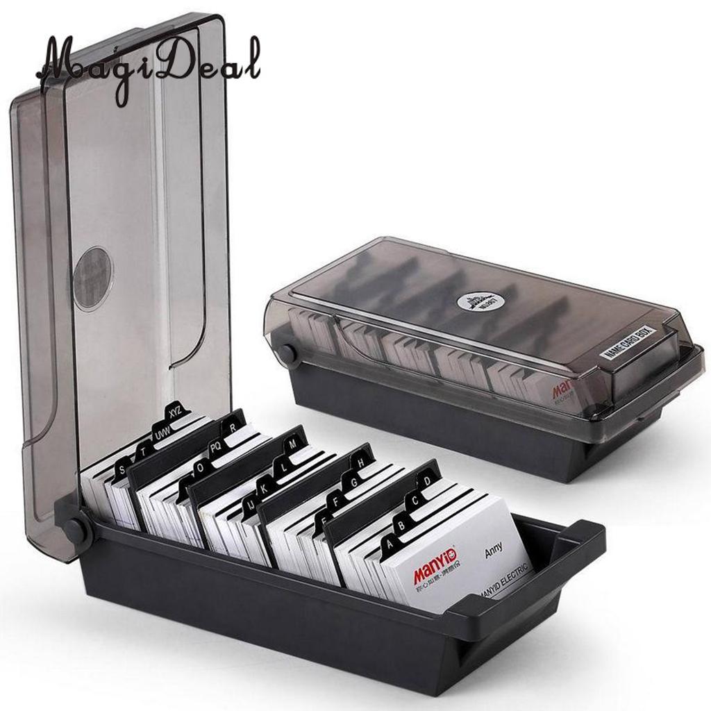 Large Capacity Business Card Holder Box Business Card File Card Storage Box Organizer Index Card Storage Box 4 Divider Board