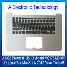 "Original A1398 Palmrest Cover For Apple Macbook 15"" Top Case Laptop With US Keyboard 2012 Year MC975 MC976 Replacement"