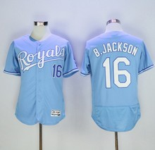 2016 Mens 16# Bo Jackson jersey Color blue beige Stitched Throwback Jerseys Size:M-XXXL(China (Mainland))