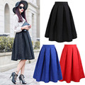 Neophil 2016 Winter Black Red Plus Size Pleated Ball Gown Skater Ladies Midi Skirts Womens Vintage