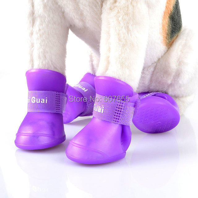 New Cute Dog Boots Waterproof Protective Rubber Silicone Pet Rain Shoes Boots botas Candy Colors S M L XL XXL 4pcs/set(China (Mainland))